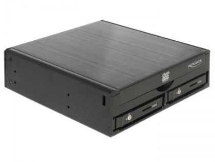 5.25' Wechselrahmen für 1x 5.25' Slim Laufwerk + 2x 2.5' SATA HDD / SSD, Delock® [47230]