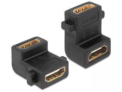 Adapter HDMI Buchse A an Buchse mit Schraubanschluss, 90____deg; gewinkelt, Delock® [65510]
