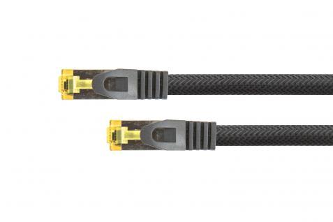 kabelmeister® RJ45 Patchkabel mit Cat. 7 Rohkabel, Rastnasenschutz (RNS®) und Nylongeflecht, S/FTP, PiMF, halogenfrei, 500MHz, OFC, schwarz, 1, 5m