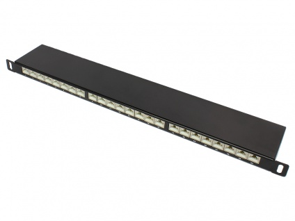 Patch Panel 19' Cat. 6, geschirmt, STP, 0, 5HE, 24-Port, tiefschwarz RAL9005, Good Connections®