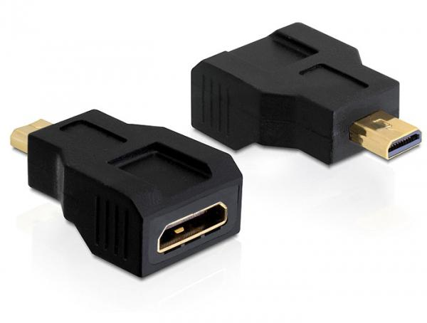 Adapter High Speed HDMI with Ethernet, mini C Buchse an micro D Stecker, Delock® [65271]