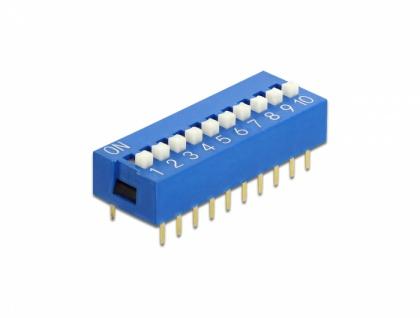 DIP-Schiebeschalter 10-stellig 2, 54 mm Rastermaß THT vertikal blau 5 Stück, Delock® [66102]
