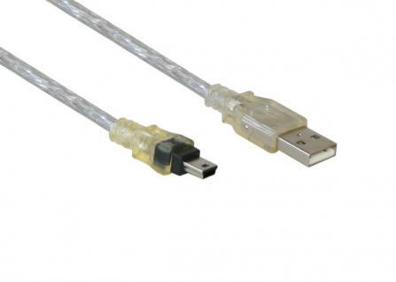 Anschlusskabel USB 2.0 Stecker A an Stecker Mini B 5-pin, transparent, 0, 6m, Good Connections®