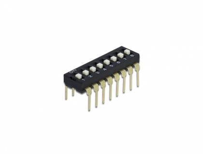 DIP-Schiebeschalter 8-stellig 2, 54 mm Rastermaß THT vertikal schwarz 5 Stück, Delock® [66114]