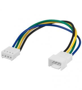 Lüfter Verlängerungskabel, 4 pol. Stecker an 4 pol. Kupplung, 15cm, Good Connections®