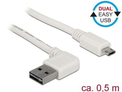 Kabel EASY-USB 2.0 Typ-A Stecker gewinkelt links / rechts an EASY-USB 2.0 Typ Micro-B Stecker, weiß, 0, 5 m, Delock® [85170]