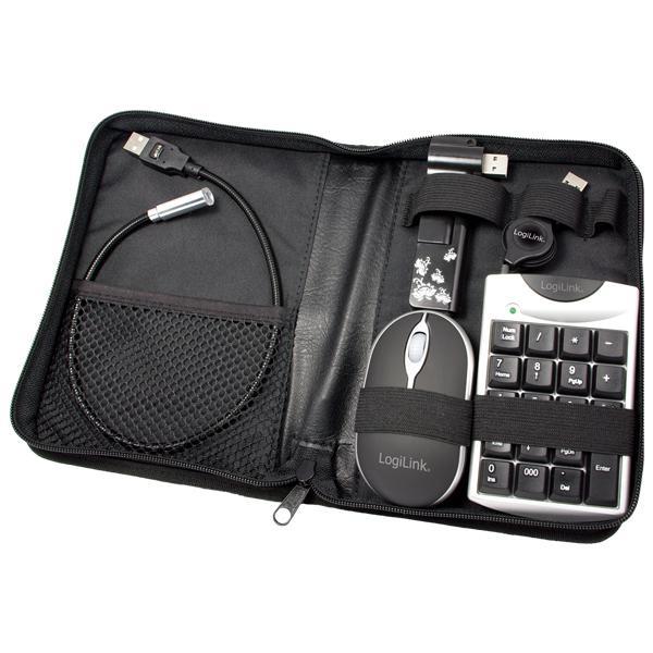 Notebook USB Zubehör, Set mit Tasche, 5-teilig, 1x USB 2.0 4-port HUB & 1x USB optical mouse & 1x USB keypad & 1x USB light, Logilink® [UA0010A]