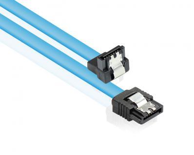 Anschlusskabel SATA 6 Gb/s mit Metallclip, einseitig gewinkelt, blau, 0, 7m, Good Connections®