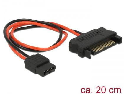 Kabel Power SATA 15 Pin Stecker an Power Slim SATA 6 Pin Buchse 20 cm, Delock® [84874]