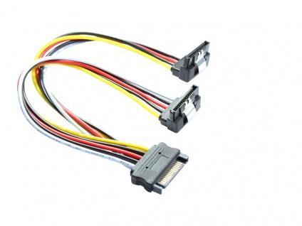 SATA Y-Stromkabel, SATA Stecker an 2x SATA Buchse 90____deg; nach unten gewinkelt, Good Connections®