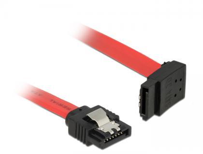 Anschlusskabel SATA 6 Gb/s Stecker gerade an SATA Stecker oben gewinkelt Metall, rot, 0, 7m, Delock® [83975]