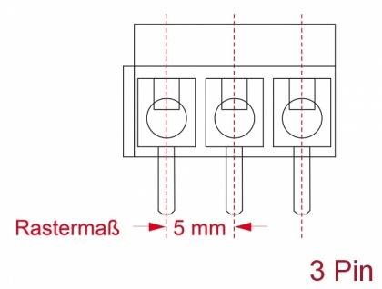 Terminalblock für, Platine, Lötversion, 3-Pin, 5, 00mm, Rastermaß vertikal, 10 Stück, Delock® [66008]