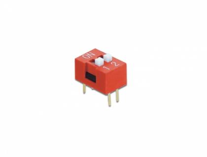 DIP-Schiebeschalter 2-stellig 2, 54 mm Rastermaß THT vertikal rot 2 Stück, Delock® [66025]