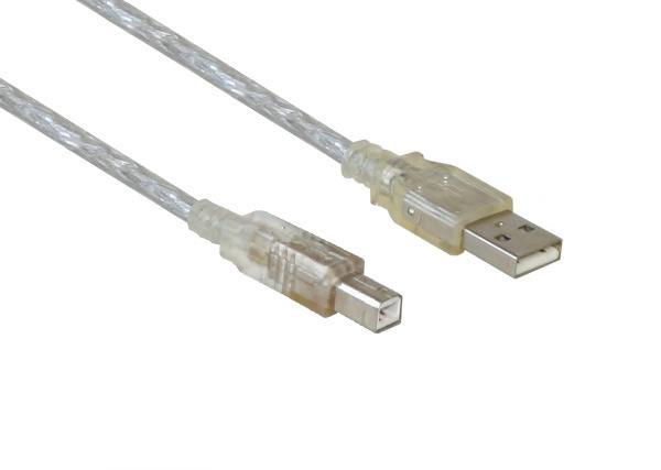kabelmeister® Anschlusskabel USB 2.0 Stecker A an Stecker B, transparent, 3m