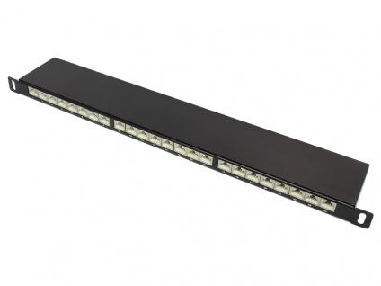 Patch Panel 19' Cat. 6A, geschirmt, STP, 0, 5HE, 24-Port, tiefschwarz RAL9005, Good Connections®