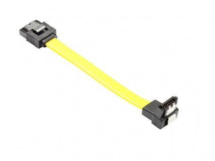 kabelmeister® Anschlusskabel SATA 6 Gb/s, mit Arretierung, nach unten abgewinkelt, 0, 1m, gelb