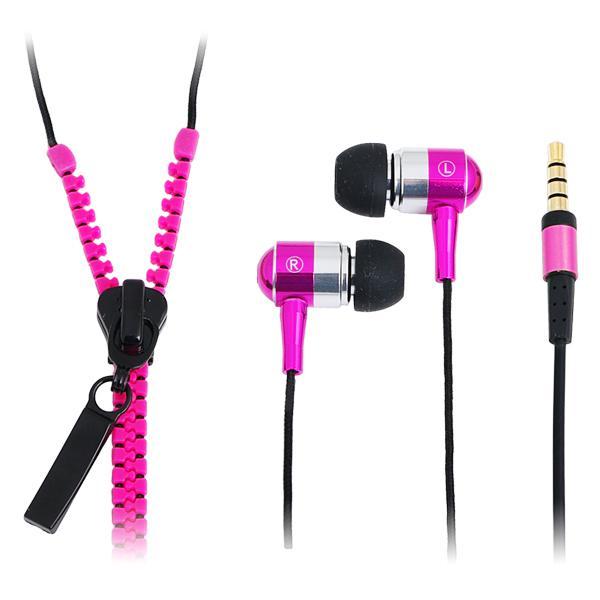 'Zipper' Stereo In-Ear Kopfhörer mit Mikrofon und Fernbedienung, Neon Pink, LogiLink® [HS0022]