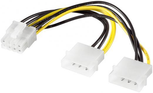 Internes Stromkabel 2x 5, 25' Stecker auf PCI Express 8pol Stecker, 0, 13m, Good Connections®