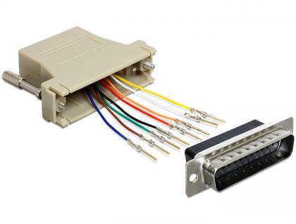 Adapter, Sub-D 25 Pin Stecker zu RJ45 Buchse, Montagesatz, grau, Delock® [65433]