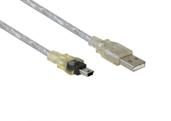 Anschlusskabel USB 2.0 Stecker A an Stecker Mini B 5-pin, transparent, 1m, Good Connections®
