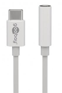 Audio-Adapterkabel USB-C™ Stecker an 3, 5mm Klinkenbuchse (3-pol), weiß, 0, 1m - Vorschau