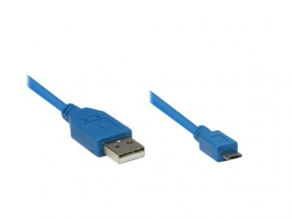 Anschlusskabel USB 2.0 Stecker A an Stecker Micro B, blau, 1m, Good Connections®