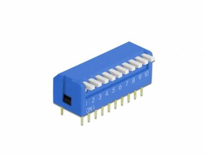 DIP-Kippschalter Piano 10-stellig 2, 54 mm Rastermaß THT vertikal blau 5 Stück, Delock® [66147]
