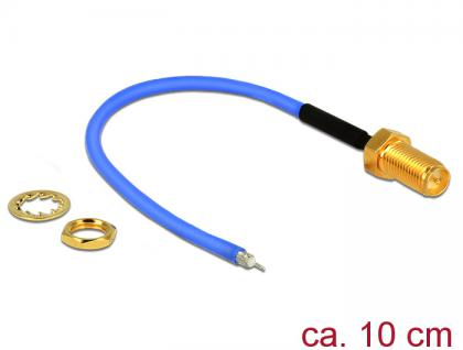 Antennenkabel RP-SMA Buchse zum Einbau an offenes verzinntes Kabelende (RG-405 semi flexible) low loss, blau, 0, 1m, Delock® [89522]