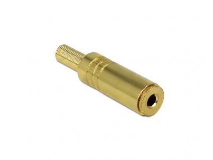 Stereo Klinkenbuchse 3, 5mm 3 Pin mit Knickschutz, gold, Delock® [65541]