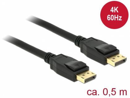 Kabel DisplayPort 1.2 Stecker an DisplayPort Stecker, 4K @60Hz, schwarz, 0, 5m, Delock® [85506]
