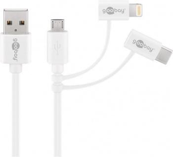 3 in 1 Lade- und Datenkabel, USB A Stecker an Micro USB, USB-C™ und Apple Lightning Stecker, weiß, 1m