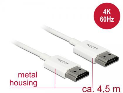 Kabel High Speed HDMI mit Ethernet, Stecker A an Stecker A, 3D, 4K, AKTIV, Slim High Quality, weiß, 4, 5m, Delock® [85139]
