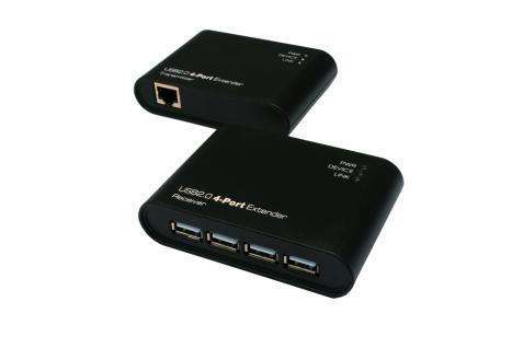 USB 2.0 Cat.5/6 Extender bis 50 Meter, 4-Port, ohne Treiber und Software (Plastik-Gehäuse), Exsys® [EX-1445]