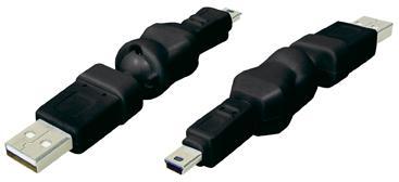 USB Adapter USB A St. auf 5pol. Mini USB Stecker, 360____deg; drehbar, schwarz, Good Connections®