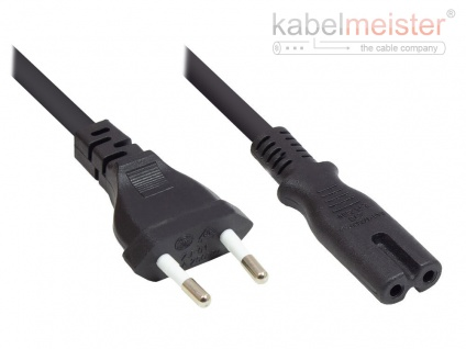 kabelmeister® Euro-Netzkabel Euro-Stecker Typ C (gerade) an C7/Euro 8 Buchse (gerade), schwarz, 0, 75 mm², 0, 75 m
