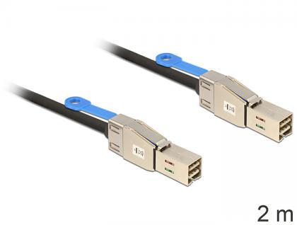 SAS Kabel HD x 4 SFF 8644 Stecker auf Mini SAS HD x 4 SFF 8644 Stecker, 2m, Delock® [83395]