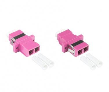 kabelmeister® LWL Duplex Kupplung, LC (UPC) an LC (UPC), OM4, Multimode, Kunststoffgehäuse mit Flansch, Keramikhülse, violett