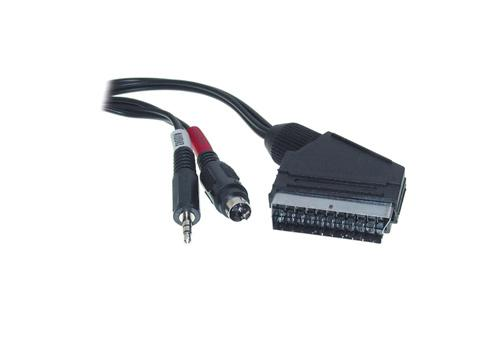 Anschlusskabel Scart Stecker an S-VHS + 3, 5mm Klinke, 5m, Good Connections®