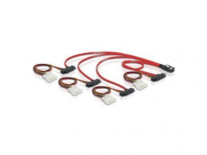 Kabel, mini SAS 36 Stecker zu 4x SAS 29pin (SFF 8087 > 4x SFF 8482 + Power), 0, 5m, Delock® [83059]