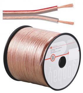 kabelmeister® Lautsprecherkabel 100m Spule, 2 x 2, 5mm², 100% Cu, transparent
