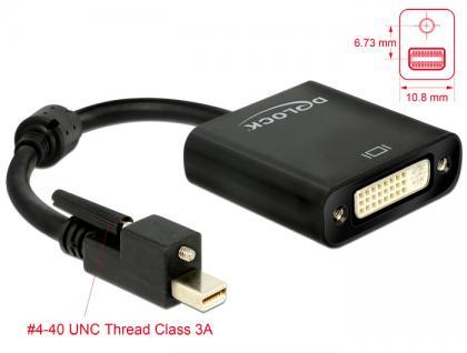 Adapter mini Displayport 1.2 Stecker mit Schraube an DVI Buchse 4K Aktiv schwarz, Delock® [62639]