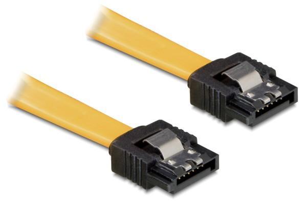 SATA 3 Gb/s Anschlusskabel mit Arretierung, 0, 1m gerade/gerade, gelb, Delock® [82464]