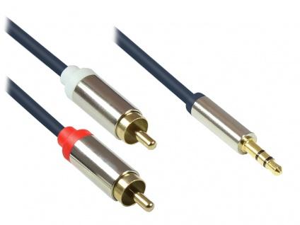 Audio Anschlusskabel High-Quality 3, 5mm, Klinkenstecker an 2x RCA Stecker, Vollmetallgehäuse, dunkelblau, 0, 5m, Good Connections®
