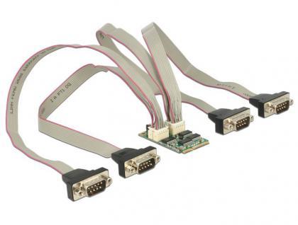 MiniPCI Express I/O PCIe full size RS-232 4x DB9 Stecker 921 Kb/s, Delock® [95244]