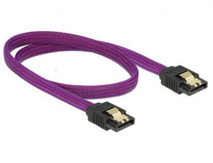Anschlusskabel SATA 6Gb/s, Stecker/Stecker Metall, Premium Nylon Geflecht, violett, 0, 5m, Delock® [83691]