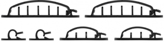 Kabelmanagement Clip Set (2x 1-Slot, 2x 3-Slots, 2x 6-Slots) mit 3M Klebefläche, schwarz, 6er-SET