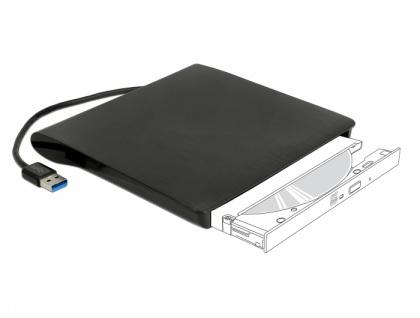 Externes Gehäuse für 5, 25' Ultra Slim SATA Laufwerke 9, 5mm an USB Typ-A Stecker, Delock® [42603]