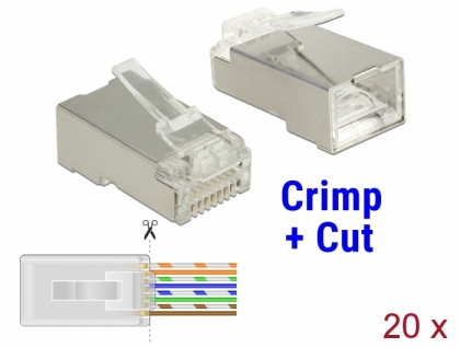 RJ45 Crimp+Cut Stecker Cat.5e STP 20 Stück, Delock® [86452]