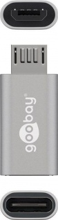 Adapter USB 2.0 Micro B Stecker an USB-C™ Buchse, silber