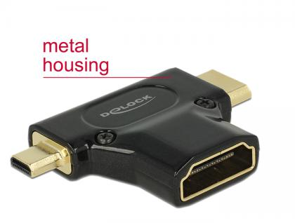 Adapter High Speed HDMI mit Ethernet - HDMI-A Buchse an Mini-C Stecker + Micro-D Stecker schwarz, Delock® [65666]